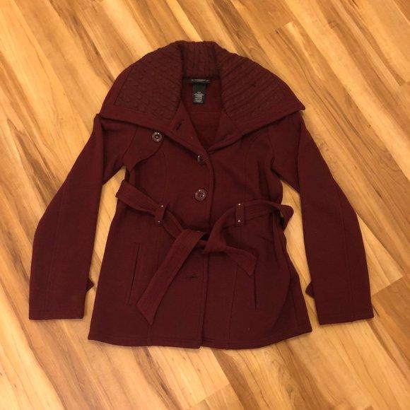 Sebby Collection Burgundy Pea Coat